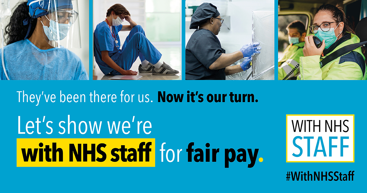 Poster for WithNHSStaff campaign for a fair pay rise