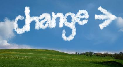 Picture of the word change written as skywriting