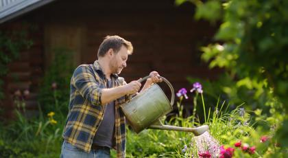 man using a watering can in the garden