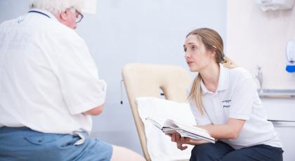 Physio with elderly patient