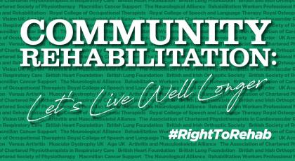 Right to Rehab Report cover image, which reads: Community Rehabilitation: Let's Live Well Longer