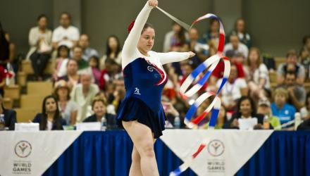 Gymnast Felicity Martin performing her division one gold medal winning routine at the Special Olympics in Los Angeles 2015