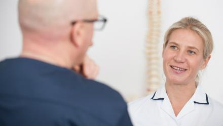 Physiotherapist working in GP surgery
