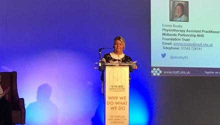 Physiotherapy assistant practitioner Emma Busby making her presentation at this year's Guidelines International Network conference