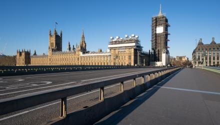 Westminster Bridge without people or traffic due to lockdown