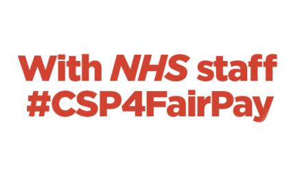 With NHS staff #CSP4FairPay
