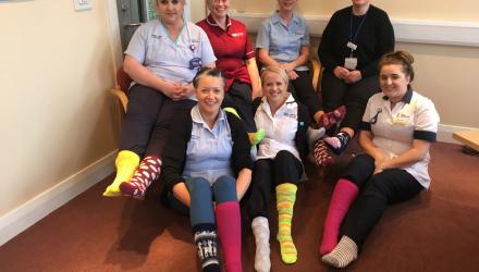 Physos wear odd socks to raise awareness of lymphoedema in Northern Ireland